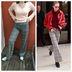 Wide Leg High Rise Glen Plaid Trousers
